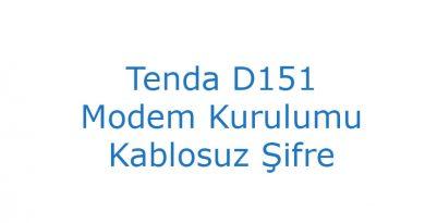 Tenda D151 Modem Kurulumu Kablosuz Şifre