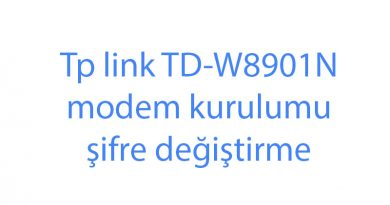 Tp link TD-W8901N modem kurulumu şifre değiştirme