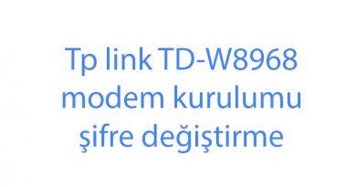 Tp link TD-W8968 modem kurulumu şifre değiştirme
