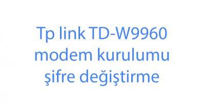 Tp link TD-W9960 modem kurulumu şifre değiştirme