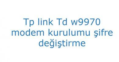 Tp link Td w9970 modem kurulumu şifre değiştirme